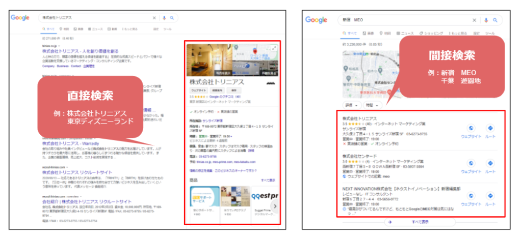 Google直接検索とGoogle間接検索の画面比較
