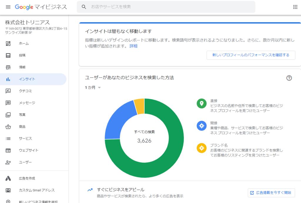 Googleマイビジネスインサイト画面